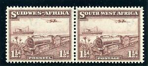 S.W.A. 1937 1½d purple-brown bilingual pair superb MNH. SG 96. Sc 110.