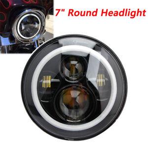 "7""inch Round LED Hi/Lo Headlight Halo Ring Angel Eyes DRL Light Jeep Wrangler JK"