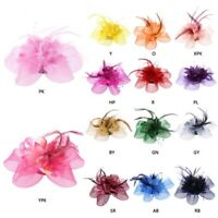 Womens Flower Feather Beads Mesh Corsage Hair Clips Bridal Fascinator Hairband