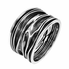 Oxidized Ocean Waves .925 Sterling Silver Handmade Ring-7
