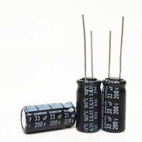 10PCS 33uF 200V 33MFD 200Volt Electrolytic Capacitor 10mm×16mm Radial