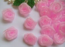 "1 "" Light Pink Organza Ribbon Roses Flowers Appliques DIY -Lots 50 Pcs (R0082K)"