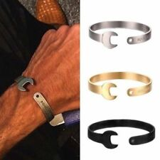 SPANNER WRENCH STAINLESS STEEL BANGLE CUFF BRACELET MECHANIC ENGRAVABLE