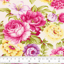 Cotton Poplin Fabric FQ Flower Bouquet Shabby Vintage Retro Chic FabricTime VK98