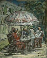 René GRAS (1911-2006) Pastel Le Parasol Années 50 Expressionnisme Ecole de Paris