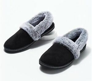 Skechers Plush Faux-Fur Slippers Cozy Campfire Team Toasty Black 10W Wide NIB