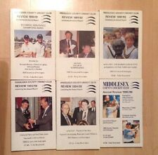 Middlesex County Cricket Club Reviews. 1990-1996 -6 Issues. VGC