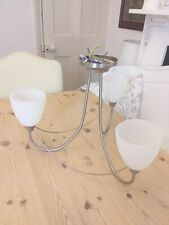 JOHN LEWIS CHROME & FROSTED GLASS CEILING LIGHT MODERN 3 ARM CHANDELIER
