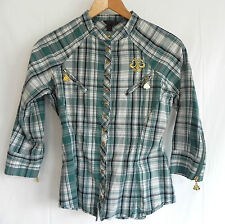 Dereon Top/Shirt  Size S Button Down 3/4 Sleeve  Plaid Slim Cut Embroidered Logo