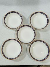 Porcelain Salt Cellar Set of 5 Haigelei Fine Bone China Open Dish Blue Trim