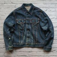 Vintage Levis Type 3 Big E Denim Trucker Jean Jacket L M 70s Made in USA