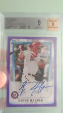 BRYCE HARPER 2011 Bowman Prospects PURPLE AUTO BGS 9 Nationals RC Rookie 45/55