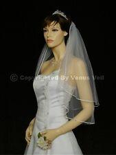 2T Ivory Elbow Length Satin Rattail Edge Bridal Wedding Veil