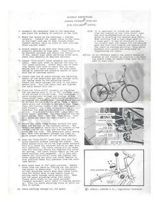 SCHWINN 1966 Sprint Early Fastback Stingray 5 Speed Assembly Inst Original