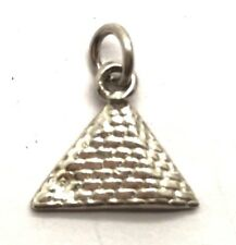 Vintage Oxidized Sterling Silver Petite Brick Wall Pyramid Egypt Charm - Pendant