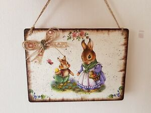 Eastern Shabby chic picture plaque, handmade ,vintage
