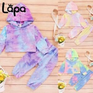 Lapa Toddler Kids Baby Girls Tie Dye Outfits Hooded Tops Pants Tracksuit Clothes