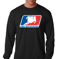 New AMA MOTOCROSS Racing Logo Men's Long Sleeve Black T-Shirt Size S-3XL