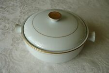 Hoan French Casserole Dish Round Baker Oven to Table White Porcelain Gold Trim