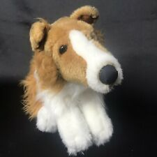 """Animal Alley Border Collie Plush Lassie Dog Realistic Stuffed Puppy Toy 12"""" long"""