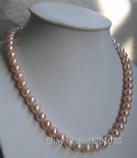 9-10 mm Australian SOUTH SEA gold pink kasumi PEARL NECKLACE 18inch 14K