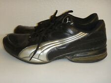 PUMA Men's Sneakers Lace-up Athletic Shoes Black & Silver Leather Size 13