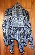 Asos Aztec Print Waterfall Cardigan Size:UK 14 / EU 42 Grey Black White