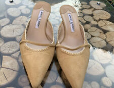 Manolo Blahnik Womens Shoes UK 3.5  Open Back Pointed Beige Kitten Heels RRP£500