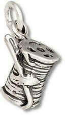 Spool of Thread Charm Sterling Silver Pendant 3d Sewing Needle Seamstress