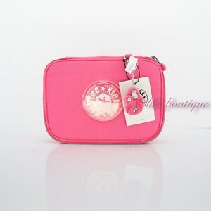 NWT Kipling KI1211 100 Pens Case Pencil Accessory Nylon Flashy Pink GPL Glitter