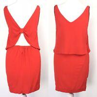 Sandro Bright Red Mini Dress Back Bow Cutout Summer Silk Trim Size 1 UK6/8