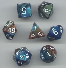 NEW Style ! RPG Dice Set of 7 - Twisted Aqua-Bronze D4 D6 D8 D10 D12 D20 D00-90