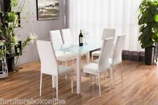 LUNAR Rectangle Glass Dining Table Set and 6 White Faux Leather Chairs Seats*