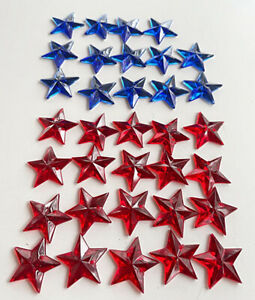 """7/8"""" Faceted Acrylic Stars (22mm) - 14 royal pcs; 20 red pcs."""