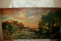 19th c. FRENCH OIL PAINTING CHATEAU RUINS 1893 ANTIQUE BRIDGE LANDSCAPE  LOVELY