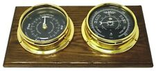 Prestige solid Brass Barometer and Tide Clock, Mounted on Dark English Oak