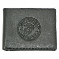 US Marines Genuine RFID Protection Leather BIFOLD Logo Wallet (Black)
