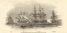 1847 ANTIQUE PRINT-SIR CHARLES NAPIER'S SQUADRON IN PLYMOUTH SOUND