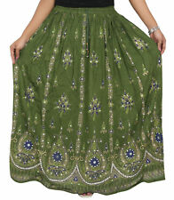 Indian Sequins Skirt Boho Belly Dance Hippie Gypsy Rayon Maxi Green Wrap