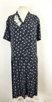 Vintage Eastex Ditsy Floral Pleated Heirloom Midi Tea Dress UK 20 Modest