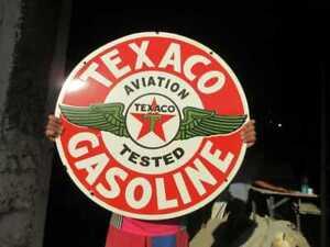 "Porcelain Texaco Gasoline  Enamel Sign Size 30"" Inch Round"