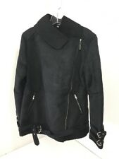 BOOHOO WOMEN'S LILLIE BONDED AVIATOR JACKET BLACK UK:12/US:8 NWT $96