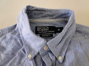 Ralph Lauren Custom Fit Herren Hemd Kurzarm Blau Unifarben Gr. M / 15