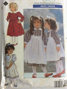1989 Butterick 4404 VTG Sewing PatternToddlers Childs Dress Pinafore Size 4 5 6