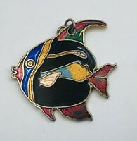 VINTAGE FISH MARINE CLOISONNE ENAMEL PENDANT FOR NECKLACE