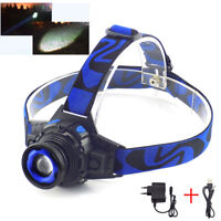 Zoom Q5 LED Headlamp Flashlight Rechargeable High Bright Head Lamp Torch Charger