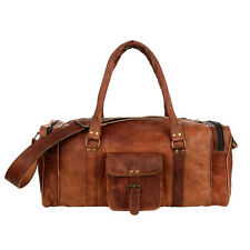 Fair Trade Handmade Extra Large Brown Leather Holdall Zip Pockets - 2nd Quality