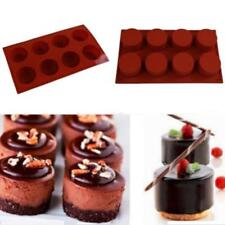 8 Holes Round Cup Shaped Mousse Cake Mold 3D Silicone Jelly Pudding Mould P3