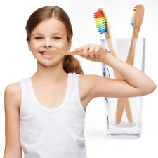 1Pc Wooden Handle Rainbow Soft Bristle Bamboo Toothbrush Oral Care Child Faves