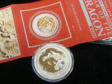 2012 AUSTRALIAN GOLD GILDED DRAGON – 1 OUNCE .999 FINE SILVER BULLION COIN.